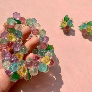 Vintage flower bracelet and earrings matching set